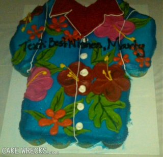 """Cake in the shape of a Hawaiian shirt that reads """"Text: Best Wishes, Marty"""""""